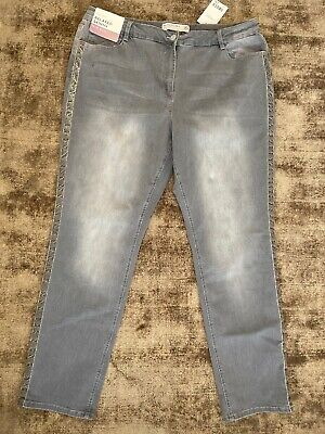 NEXT Grey Denim Jeans Relaxed Skinny Mid Rise Plus Size 20 Long NEW
