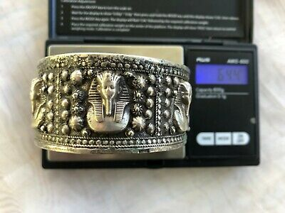 Egyptian Revival 800 Silver Cuff Bracelet King Tut High Relief 64 Grams Antique