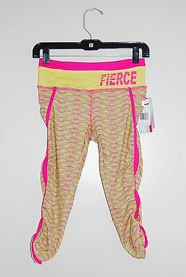 NWT HIND Big Girls Hot Pink & Lemon Yellow FIERCE Capri Sport Leggings L 14/16