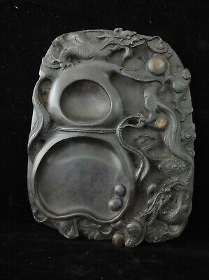 Old Large Chinese Hand Carving Dragon and Gourd Ink Stone Ink Slab Marks