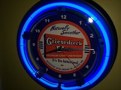 *Griesedieck St. Louis MO Beer Bar ManCave Blue Advertising Neon Wall Clock Sign