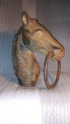 Antique Heavy Cast Iron Horse Head Hitching Post Fence Topper Old Rare