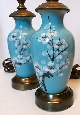 Antique PAIR ASIAN Chinese Japanese Enamel Metal Vases as Lamps Lotus