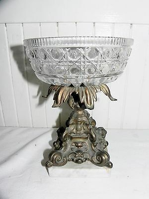 Antique Federal Windsor Button & Cane Clear Glass Compote Center Bowl