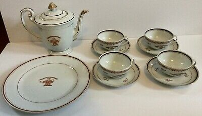 Chinese Export Armorial Tea Set Plate Teapot Cups 19thc