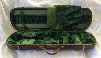 Beautiful Old Antique Leather Violin Case with Plush Emerald Green Interior