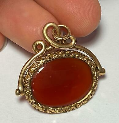 ANTQ 14K Yellow Gold Ornate Carnelian Agate Necklace Charm Pendant Spinner Fob