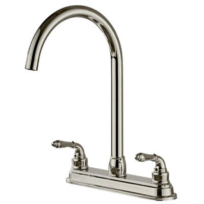 2-Handle Stainless Steel Kitchen Fixed Faucet Dual Hole Sink Water Tap US K8D3