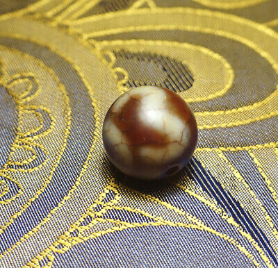 Antique Tibetan Old Agate Dzi Bead '2 Eyes & Marriag' Blessed By Eminent  Lama