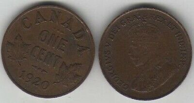 1920 Canada Small Cent Coin. Canadian George V 1 Penny