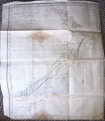 """Chart Of New Zealand"" - James Cook - Bayly Map - 1st ed. 1772"