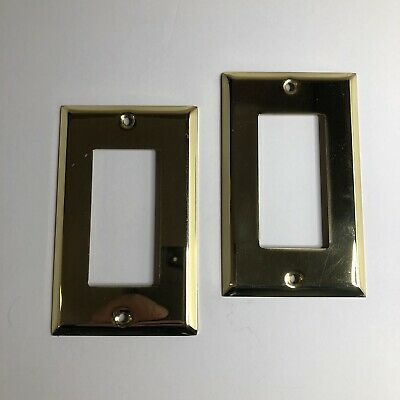 Amerelle Premium Polished Solid Brass Wall Switch Plate No Screws Lot Of 2
