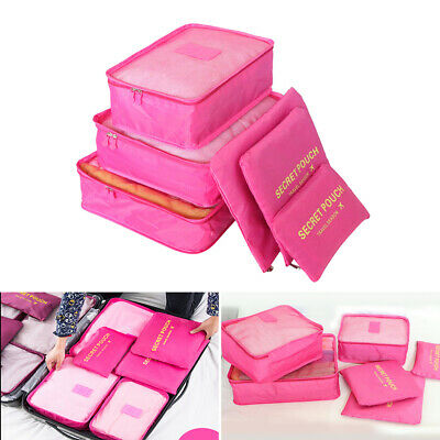 6PCS Packing Cube Pouch Suitcase Clothes Storage Bags Travel Luggage Organiser