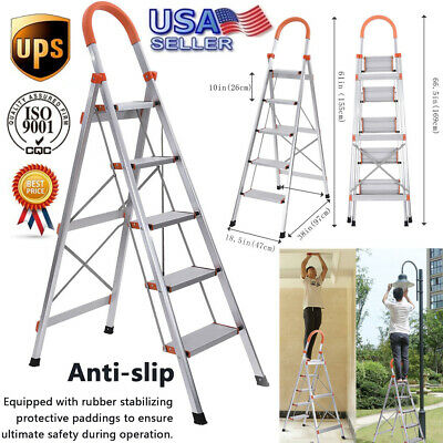 Multi-purpose Folding Portable Folding Ladder Aluminum Household 5 Step Ladder