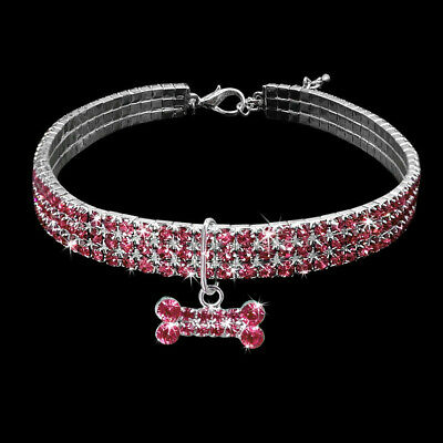 Bling Strass Kristall Diamant Welpe Halsband Haustier Hund