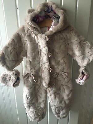 Baby Girls Clothes 0-3 Mths- BNWOT Fur Zip Up Snowsuit TED BAKER Inc Gloves 🍏🍏