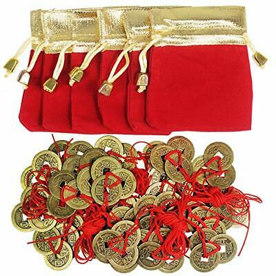 Supla 30 Pcs Chinese 3 Brass Coins Knotted with Red Ribbon and 6 Pcs Red Gold