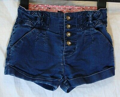 Girls TU Dark Blue Denim Sparkly Diamante Buttons Bow Detail Shorts Age 5 Years