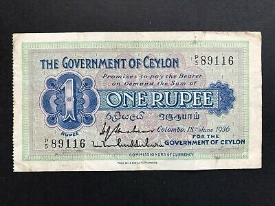 Ceylon 1 Rupee dated 1936 P16b (glue residue) aVF
