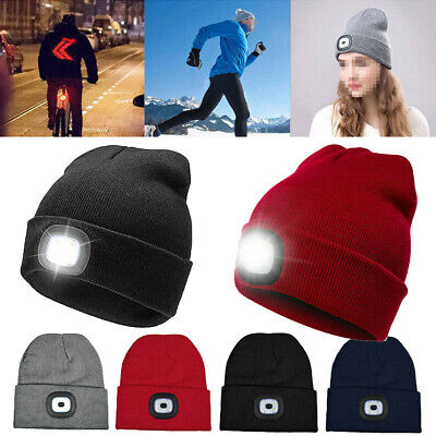 Unisex LED Beanie Hat Knitted Cap Battery Operated Head Lamp Light White *