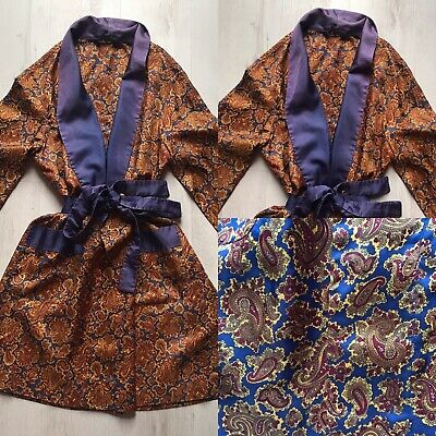 St Michael (M&S) Vintage Tricel Paisley Dressing Gown Smoking Jacket Robe M Navy