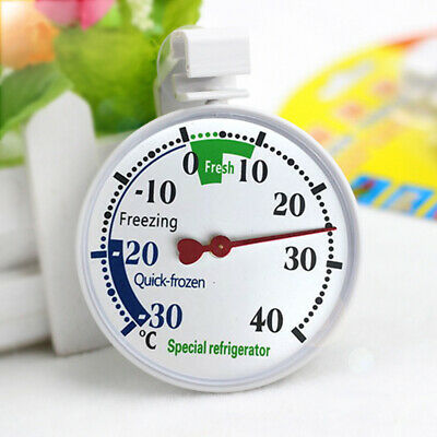 Stainless Steel Fridge Freezer Dial Thermometer Temperature Gauge Stands & Hangs