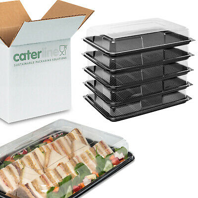 10 Caterline large sandwich platters with lids   recycled plastic catering trays
