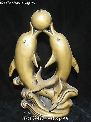"""10"""" Chinese Pure Bronze Fengshui Jumper Dolphin Dolphins Animal Ball Statue"""