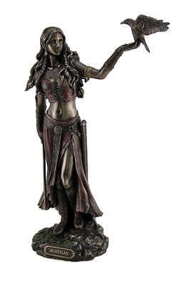 Resin Statues Morrigan The Celtic Goddess of Battle W/Crow & Sword Bronze Finish