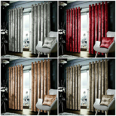Crushed Velvet Eyelet Ring Top Ready Made Fully Lined Pair Curtains Tie Backs
