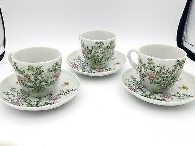 3x Antique Japanese Celadon Porcelain Tea Cup Saucer Teapot Seto Chinese Set