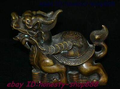 China Bronze Fengshui Animal Dragon Tortoise Loong Turtle God Beast Coin Statue