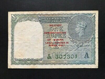 Burma Military Authority 1 Rupee issued 1945 (on India 1940) P25b Fine