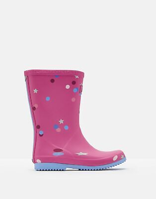 Joules Girls Roll Up Wellies in PINK STAR CONFETTI Size Childrens 2