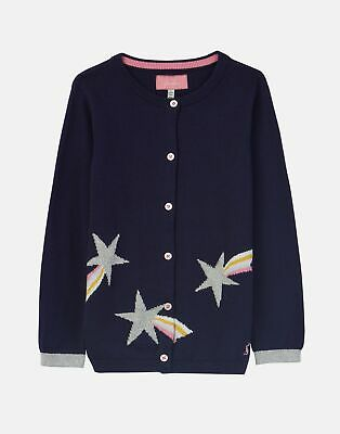 Joules Girls Madison Intarsia Cardigan 1 6 Years in NAVY SHOOTING STAR