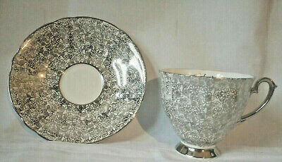 Windsor Bone China Silver Wedding Tea Cups And Saucers to 12 piece set vintage