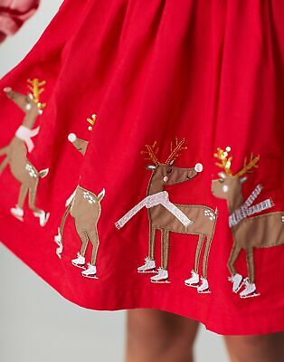 Joules Girls Festive Ariel Applique Border Skirt 1 12 Years in RED DEER