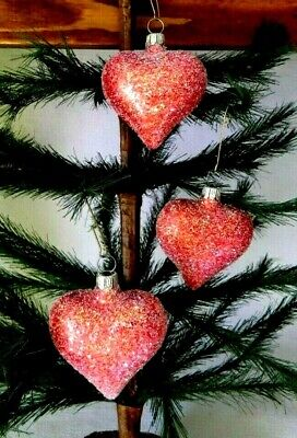 Set of 3 Small Red Sugary Puffy Hearts Blown Glass Valentine Ornaments Germany