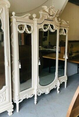 Ornate French Triple Armoire Mirror Doors