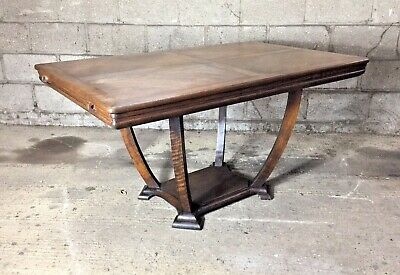Antique Oak Table with Curved Legged Pedestal Base 140 x 90