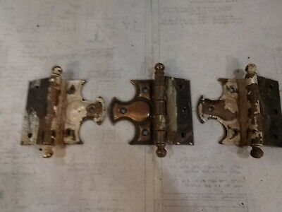 3 Reclaimed Antique Japanned Offset Door Hinges. Unique. As found.