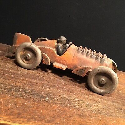 Vintage Antique Hubley Cast Iron Toy Race Car With Moving Pistons PRIORITY MAIL