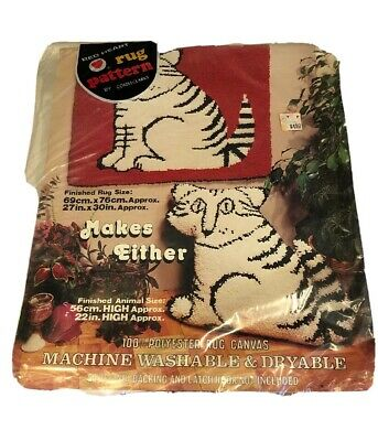 Vtg 70s Terrible Tommy Tiger Cat Rug Hook Pattern Red Heart Coats & Clark NEW