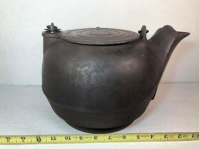 Antique Large Cast Iron Tea Kettle, Gate Marked, Lid, Bail Handle Marked V and 8