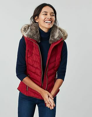 Joules Womens Maybury Chevron Gilet With Hood in RED WINE Size 16
