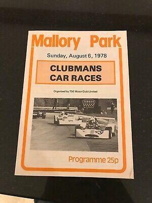Mallory Park Race Programme  6th August 1978 Formula Ford FF1600 MG Libre