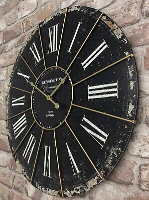 Extra Large Shabby Chic Kensington Station Wall Clock 60cm Antique Vintage Style