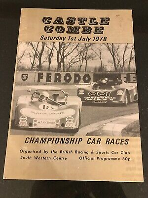 Castle Combe Race Programme 1st July 1978 Clubmans Formula Ford FF1600 FF2000