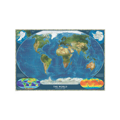 Satellite Map Of the World Large Poster Wall Decor Home Office Educational