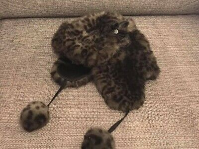 Debenhams Faux Fur Leopard Animal Jewelled Trapper Hat 7-10 Yrs